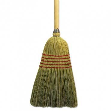 "Parlor Broom, Corn Fiber Bristles, 42"" Wood Handle, Natural"