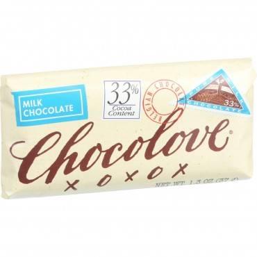 Chocolove Xoxox - Premium Chocolate Bar - Milk Chocolate - Pure - Mini - 1.3 Oz Bars - Case Of 12