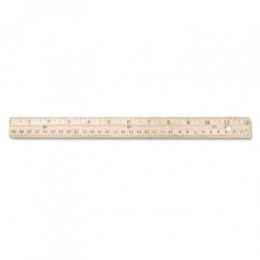 Hole Punched Wood Ruler English And Metric With Metal Edge, 12""