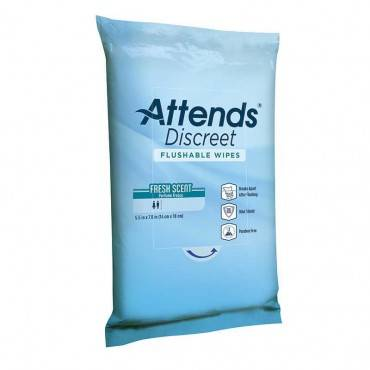 Attends Discreet Flushable Wipes Part No. Adfw20 (20/package)