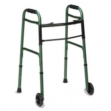 "2-Button Release Folding Walker W/wheels, Green/green Ice, Aluminum, 32-38""h"