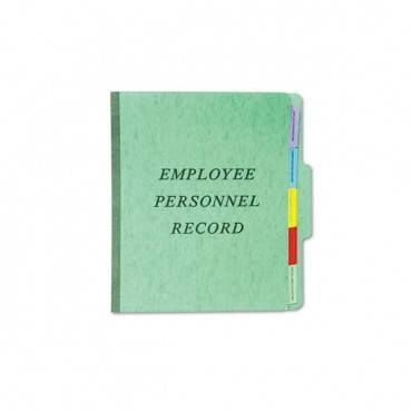Vertical Style Personnel Folders, 1/3-cut Tabs, Center Position, Letter Size, Green