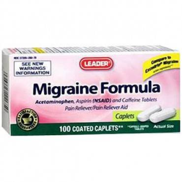 Leader Migraine Formula Caplets (100 Count) Part No. 3466430 Qty 1