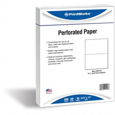 PrintWorks Professional Pre-Perforated Paper for Statements, Tax Forms, Bulletins, Planners & More (RM/REAM)
