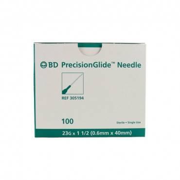 "Thin Wall Regular Bevel Needle 23g X 1-1/2"" (100 Count) (100/Box)"
