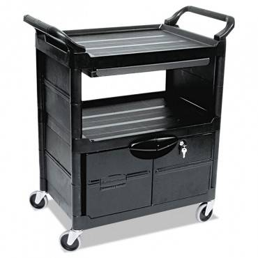 Utility Cart With Locking Doors, Two-shelf, 33.63w X 18.63d X 37.75h, Black
