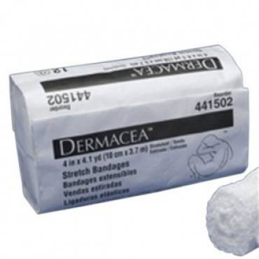 """Dermacea sterile stretch bandage 6"""" x 4 yds. (stretched) 75"""" (relaxed) part no. 441507 (12/package)"""