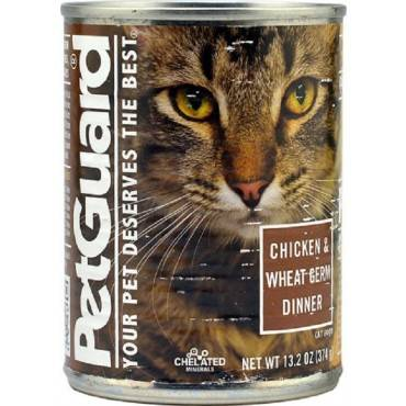 Petguard Cats Food - Chicken and Wheat Germ Dinner - Case of 12 - 13.2 oz.