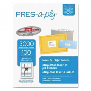 Labels, Laser Printers, 1 X 2.63, White, 30/sheet, 100 Sheets/box