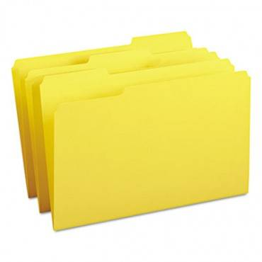 Colored File Folders, 1/3-cut Tabs, Legal Size, Yellow, 100/box