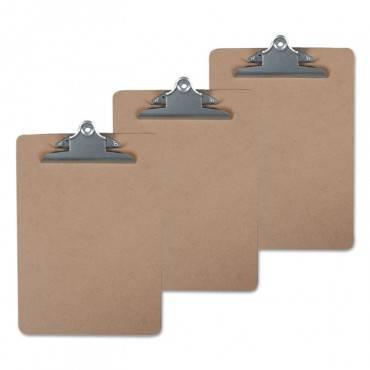 "Universal  Hardboard Clipboard, 1"" Capacity, 8 1/2 X 11, Brown, 3/Pack"