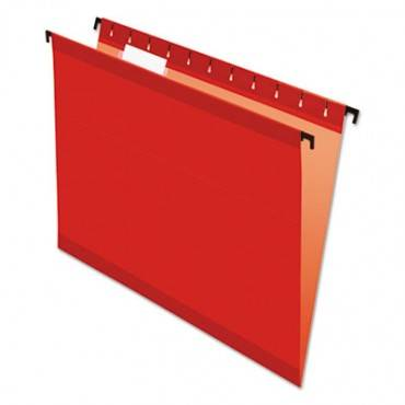 Poly Laminate Hanging Folders, Letter, 1/5 Tab, Red, 20/box