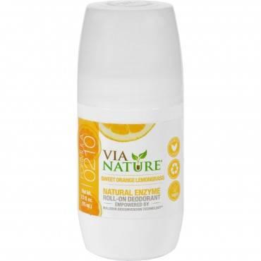 Via Nature Deodorant - Roll On - Sweet Orange Lemongrass - 2.5 fl oz