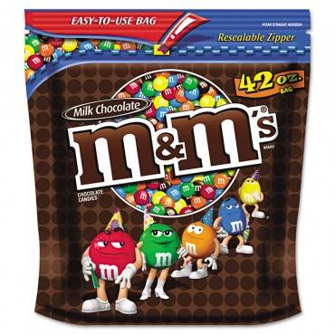 M&m Plain Milk Chocolate W/candy Coating, 42 Oz Pack