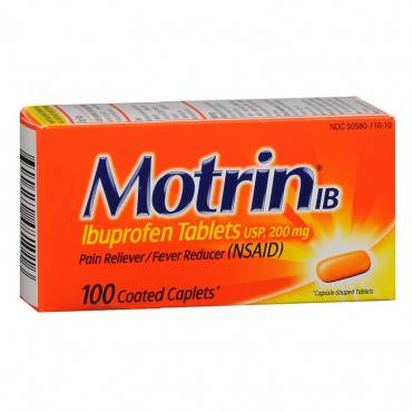 Motrin IB 200 mg Ibuprofen Caplets, 100 Count (pack of 1)