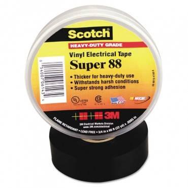 "Scotch 88 Super Vinyl Electrical Tape, 0.75"" X 66 Ft, Black"