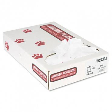 """Industrial Strength Low-density Commercial Can Liners, 16 Gal, 0.5 Mil, 24"""" X 32"""", White, 500/carton"""