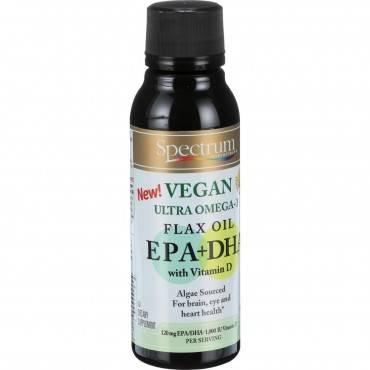 Spectrum Essentials Flax Oil - Ultra Omega 3 - EPA plus DHA with Vitamin D - Vegan - 8 oz