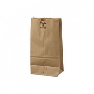"Grocery Paper Bags, 50 Lbs Capacity, #6, 6""w X 3.63""d X 11.06""h, Kraft, 500 Bags"