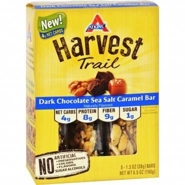 Atkins Harvest Trail Bar - Dark Chocolate Sea Salt Caramel - 1.3 oz - 5 Count