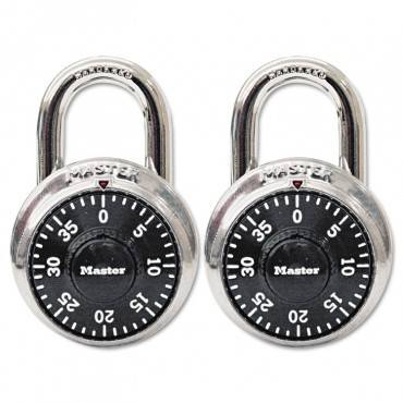"""Master Lock  Combination Lock, Stainless Steel, 1 7/8"""" Wide, Black Dial, 2/Pack"""