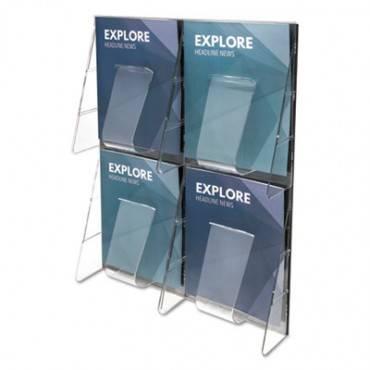 Stand-tall 4-bin Wall-mount Literature Rack, Mag, 18 1/4 X 23 1/2, Clear/black