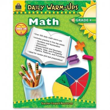 Teacher Created Resources Gr 4 Math Daily Warm-Ups Book Education Printed Book for Mathematics (EA/EACH)
