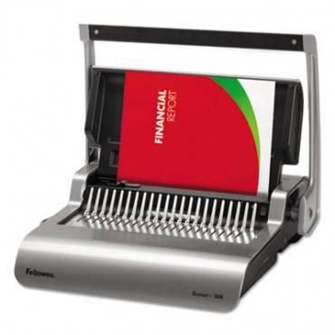 Quasar 500 Manual Comb Binding System, 18 1/8 X 15 3/8 X 5 1/8, Metallic Gray