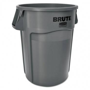 Round Brute Container, Plastic, 55 Gal, Gray