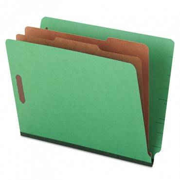 Deluxe Six-section Colored Pressboard End Tab Classification Folders, 2 Dividers, Letter Size, Green, 10/box