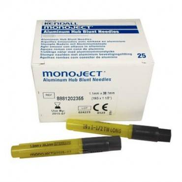 "Monoject Blunt Cannula 19 Gauge X 1-1/2"" Part No. 8881202355 (25/box)"