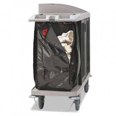 Zippered Vinyl Cleaning Cart Bag, 25 Gal, 17w X 10 1/2d X 33h, Brown