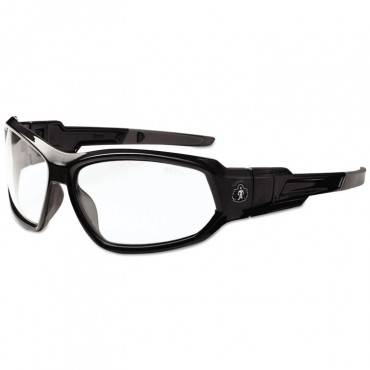 Skullerz Loki Safety Glass/goggle, Black Frame/clear Lens, Af, Nylon/polycarb