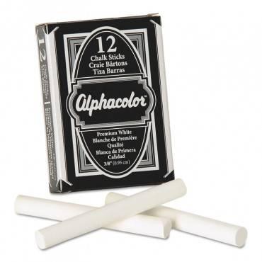 Quartet  Alpha White Chalk, Low-Dust, 12 Sticks/Pack