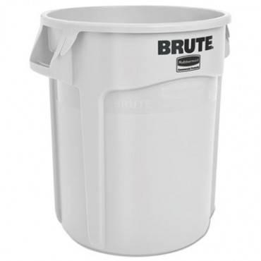 Round Brute Container, Plastic, 20 Gal, White
