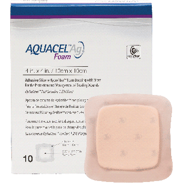 "Aquacel Ag Foam Adhesive Dressing 4"" X 4"", 2.75"" X 2.75"" Pad Size Part No. 420681 (10/box)"