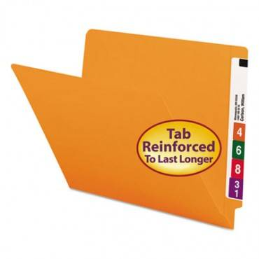 Colored File Folders, Straight Cut, Reinforced End Tab, Letter, Orange, 100/box