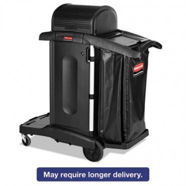 Executive High Security Janitorial Cleaning Cart, 23-1/10 X 39-3/5 X 27-1/2, Blk
