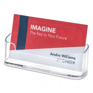 Horizontal Business Card Holder, 50 Card Cap, 3 7/8 X 1 13/16 X 1 3/8, Clear