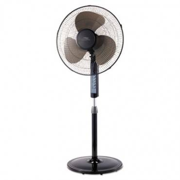 "Lakewood 16"" Remote Control Stand Fan, Three Speeds, Black"