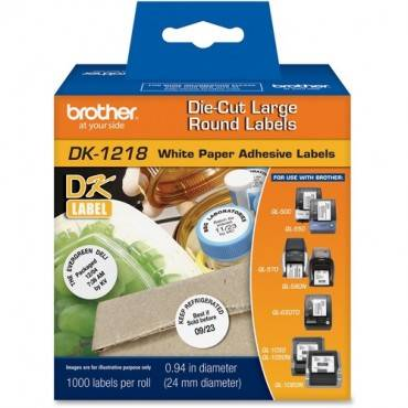 Brother DK1218 - White Round Paper Adhesive Labels (RL/ROLL)