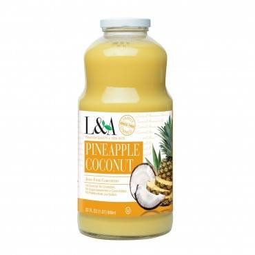 L and A Juice - Pineapple Coconut - Case of 6 - 32 Fl oz.