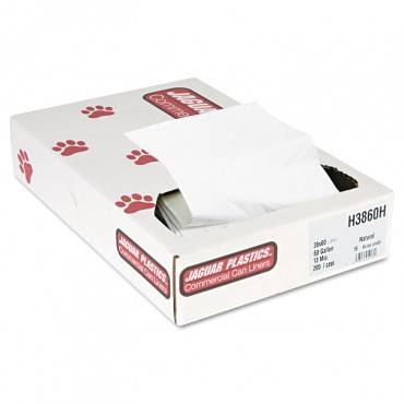 """Industrial Strength Commercial Can Liners Flat Pack, 60 Gal, 13 Microns, 38"""" X 60"""", Natural, 200/carton"""