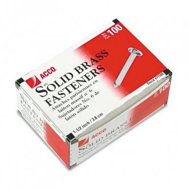 "Brass Prong Paper Fasteners, #8, 1.5"" Capacity, Brass, 100/box"