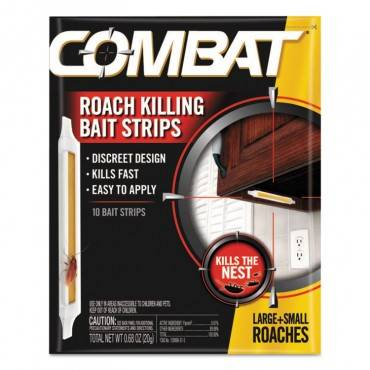 Combat  Roach Bait Insecticide Strips, 0.68 Oz, 10/Pack, 12 Pack/Carton
