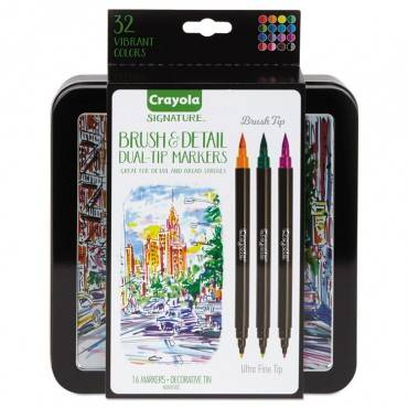 Crayola  BRUSH AND DETAIL DUAL ENDED MARKERS, ULTRA FINE TIP, ASSORTED, 16/SET 586501 1 Set