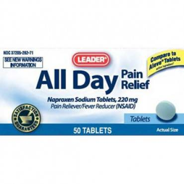 Leader Naproxen Sodium Tablets 220 mg (50 Count) Part No. 2532273 Qty  Per Bottle