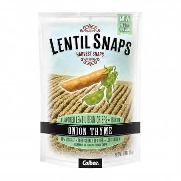 Calbee Snapea Crisp Lentil Snaps - Onion Thyme - Case of 12 - 3 oz