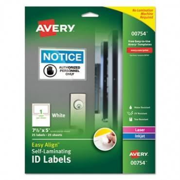 Easy Align Self-laminating Id Labels, Laser/inkjet, 5 X 7 1/2, White, 25/pk