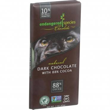 Endangered Species Natural Chocolate Bars - Dark Chocolate - 88 Percent Cocoa - 3 oz Bars - Case of